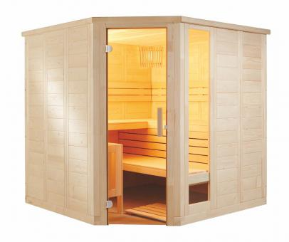Massivholzsauna Pinetto Corner Large 234 x 206 x 204 cm